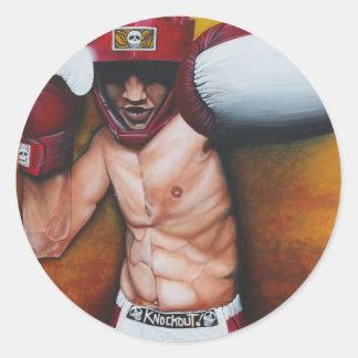 Arte del boxeo pegatina redonda