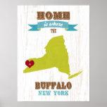 Arte del búfalo del amor del arte del mapa del Est Posters