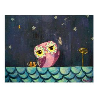 Arte del búho - coja una estrella el caer postal