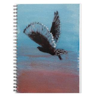 Arte del búho de la salida del sol del cuaderno