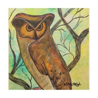 Arte del búho de pitido en el panel de madera cuadros de madera