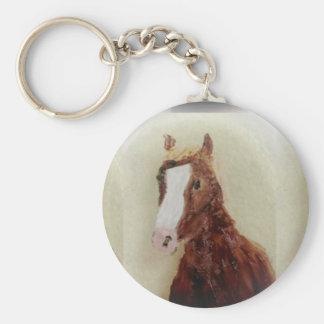 Arte del caballo de Brown Llavero Redondo Tipo Pin