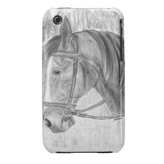 Arte del caballo de la belleza que escucha iPhone 3 cárcasas