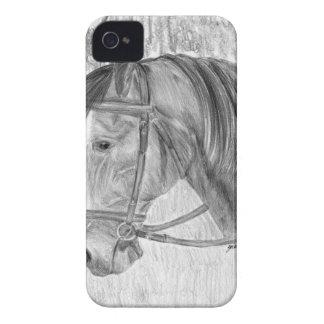 Arte del caballo de la belleza que escucha iPhone 4 Case-Mate carcasas