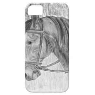Arte del caballo de la belleza que escucha iPhone 5 funda