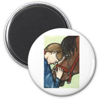 Arte del caballo del amor del potro imán redondo 5 cm