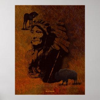 Arte del caballo del jefe, del búfalo y del Pinto  Póster