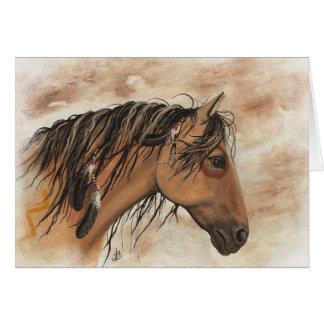 Arte del caballo del mustango del nativo americano tarjeta de felicitación