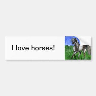 Arte del caballo del pinto del soñador etiqueta de parachoque