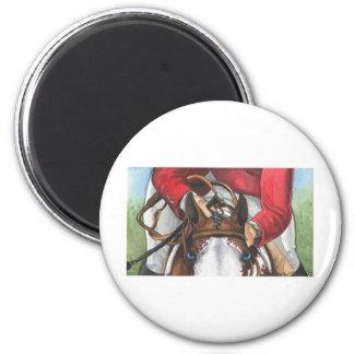 Arte del caballo del SHOWJUMPING de los ojos azule Imán Redondo 5 Cm