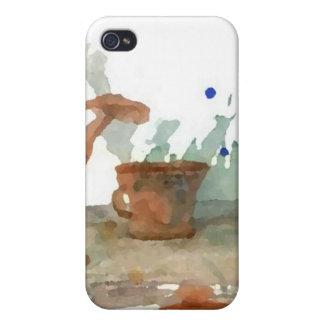 Arte del café de CricketDiane de la loza de barro iPhone 4 Funda