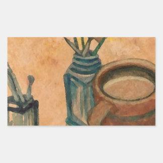 Arte del café - primera cosa por la mañana pegatina rectangular