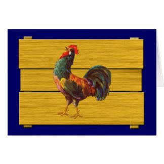 Arte del cajón de la cocina del vintage del gallo tarjeta pequeña