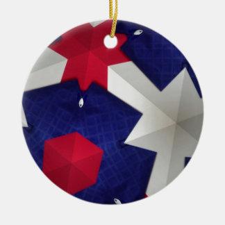 Arte del caleidoscopio adorno navideño redondo de cerámica