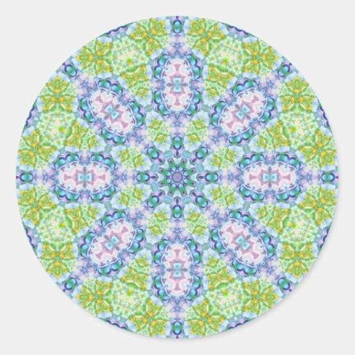 Arte del caleidoscopio del extracto del verde azul pegatina redonda