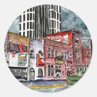 arte del capital de la música country de Nashville Pegatina Redonda