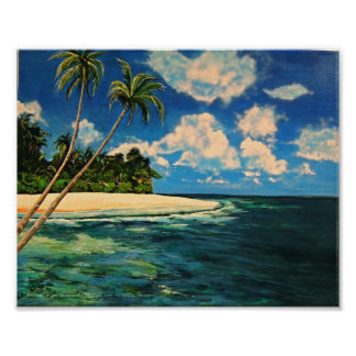 Arte del Caribe tropical del poster de la playa