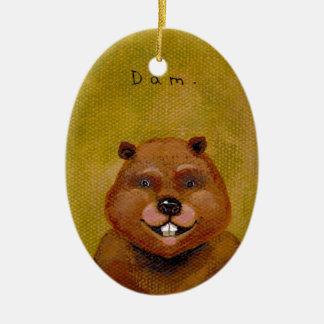 Arte del castor original pintando la diversión adorno navideño ovalado de cerámica