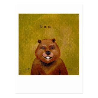 Arte del castor original pintando la diversión postal