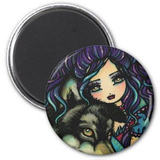 Arte del chica del cielo nocturno del lobo del vam imán de nevera