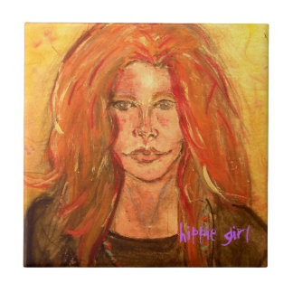 arte del chica del hippie azulejo cuadrado pequeño