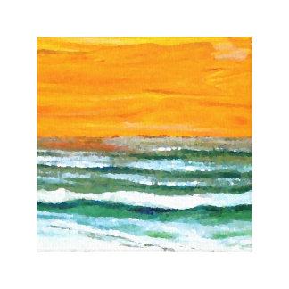 Arte del cielo de la salida del sol de la playa de lona estirada galerías