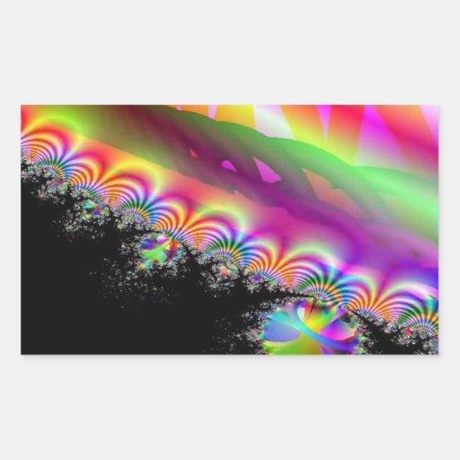 Arte del circo del arco iris pegatina rectangular
