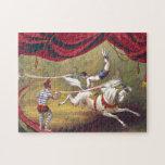 Arte del circo del vintage del acto de la bandera puzzles con fotos