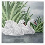 Arte del cisne de la baldosa cerámica azulejos ceramicos