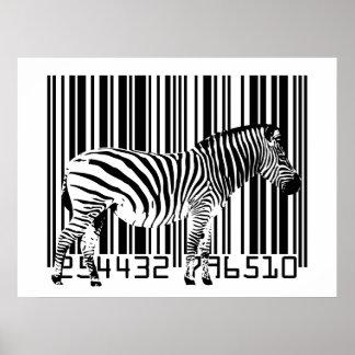 Arte del código de barras de la cebra póster