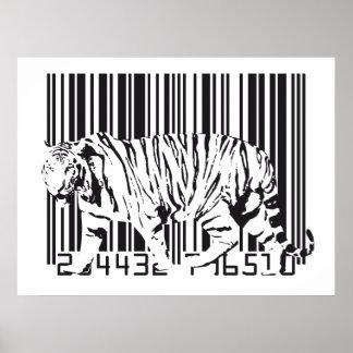 Arte del código de barras del tigre póster