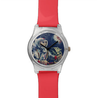 Arte del cómic del astronauta del espacio del vint reloj de mano