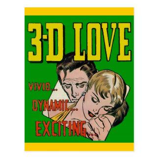 Arte del cómic del vintage - AMOR 3D Tarjeta Postal