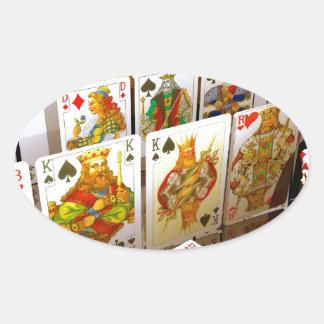 Arte del comodín del póker de los naipes pegatina ovalada