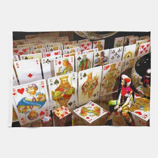 Arte del comodín del póker de los naipes toallas de cocina