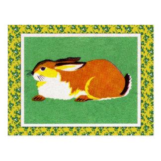 Arte del conejo del vintage tarjeta postal
