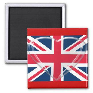 Arte del corazón de la bandera y del vidrio de Uni Imán Cuadrado