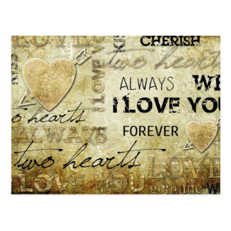 arte del corazón del amor del vintage postal