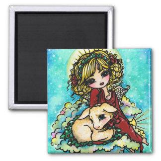 Arte del cordero del ángel del milagro del navidad iman de frigorífico