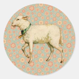 Arte del cordero del vintage pegatina redonda