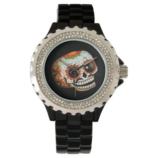 Arte del cráneo de Dia de Los Muertos Sugar Reloj De Mano