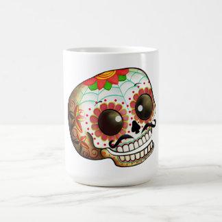 Arte del cráneo de Dia de Los Muertos Sugar Taza Básica Blanca