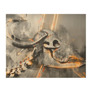 Arte del cráneo del búfalo - impresión del arte de cuadros de madera