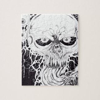 Arte del cráneo del horror rompecabezas con fotos