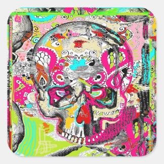 Arte del cráneo pegatina cuadrada