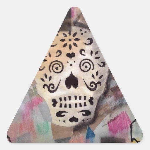 arte del cráneo pegatina triangular