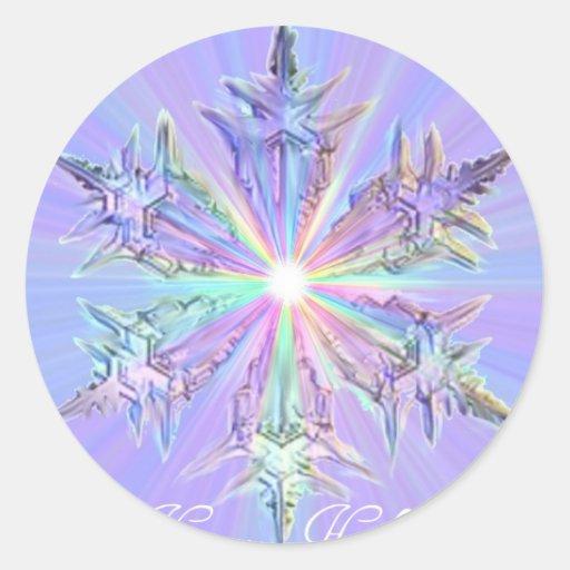 Arte del cristal del copo de nieve del brillo de pegatinas redondas