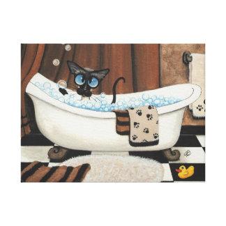 Arte del cuarto de baño del gato siamés por la imp lona estirada galerías