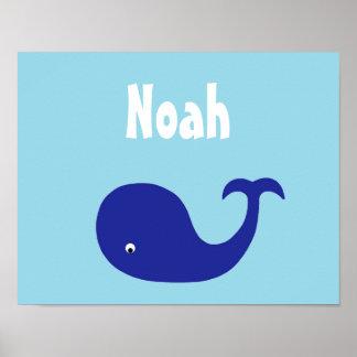 Arte del cuarto de niños de la ballena azul impresiones
