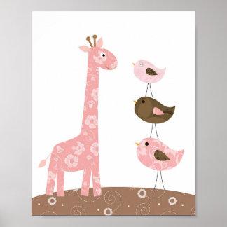 Arte del cuarto de niños de la jirafa y del pájaro póster